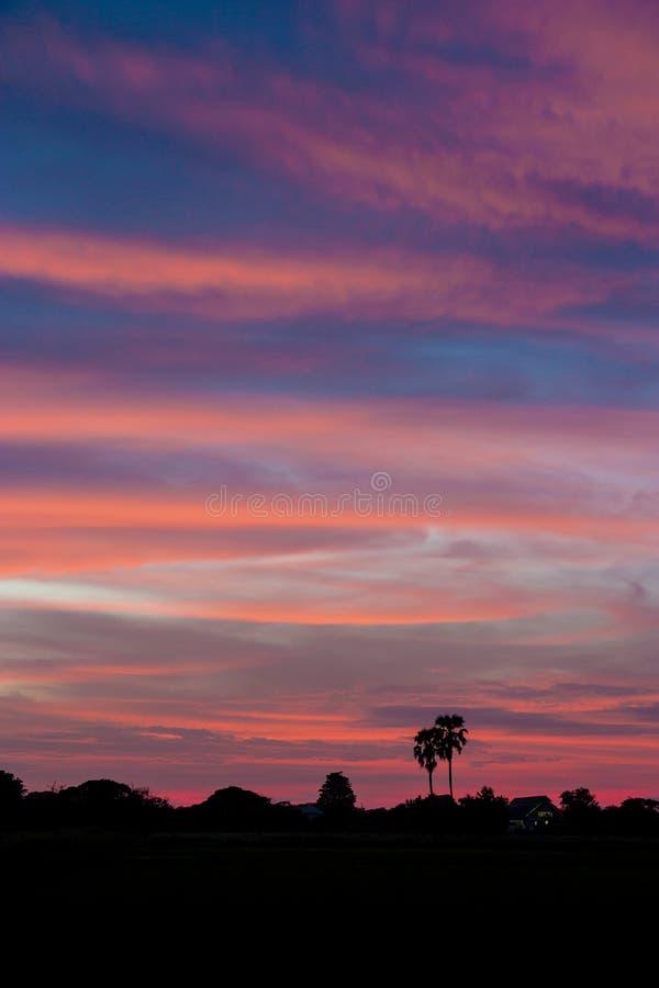 Красивый заход солнца заволакивает розовый голубой цвет стоковое фото