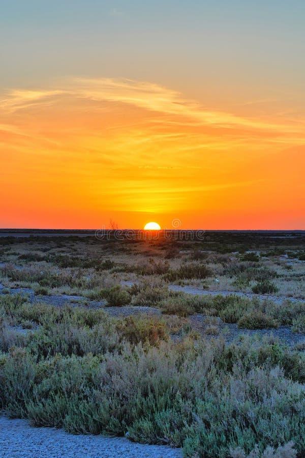 Красивый заход солнца на озере соли Chott el Djerid, пустыне Сахары, Tu стоковые фото