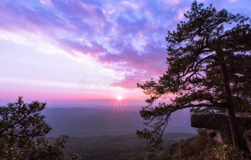 Красивый заход солнца на скале Lom Sak, национальном парке Phu Kradung стоковая фотография rf