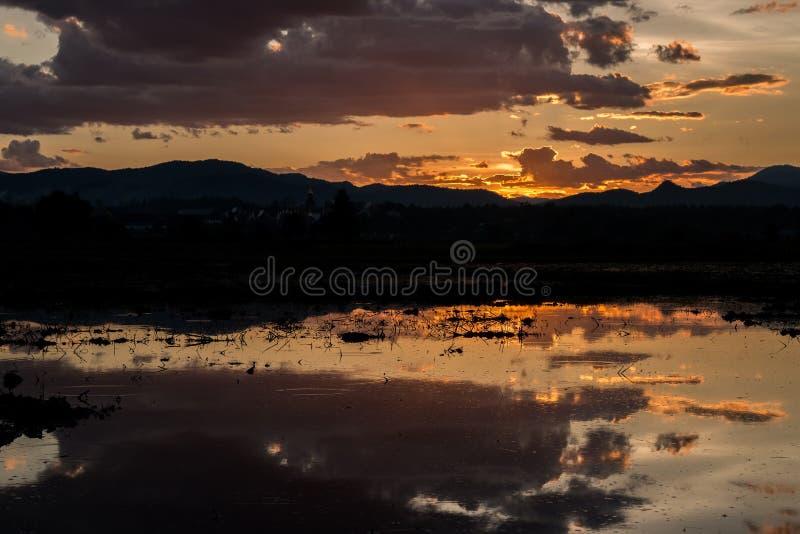 Красивый заход солнца отразил в воде в ниве стоковая фотография rf