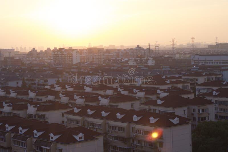 Красивый заход солнца Шанхая стоковая фотография