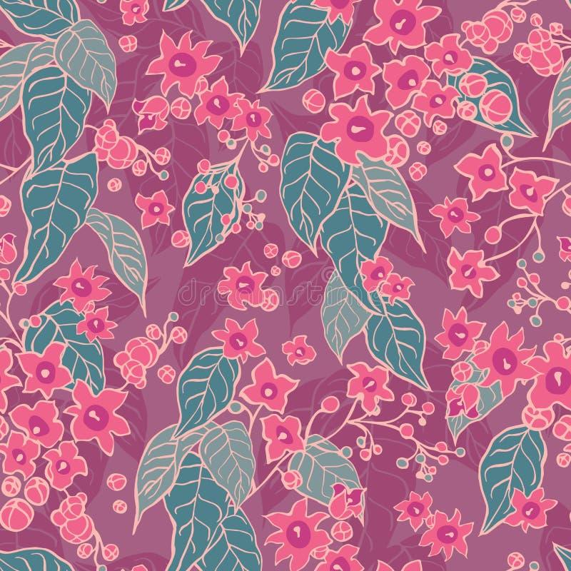 Красивый зацветая цветочный узор дерева с ботаническими мотивами разбросал случайное Безшовная предпосылка текстуры вектора для иллюстрация вектора
