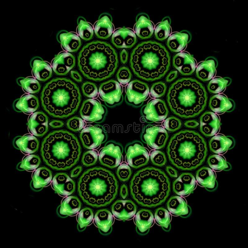 Красивый зеленый орнамент мандалы на черноте изолировал предпосылку иллюстрация вектора