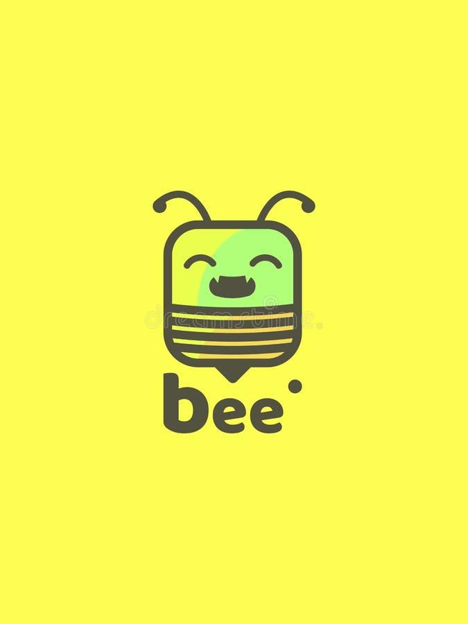 Красивый значок пчелы с текстом на желтой предпосылке иллюстрация вектора