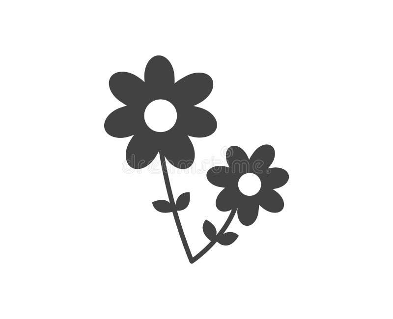 Красивый значок цветка Значок вектора плоский в черно-белом иллюстрация вектора