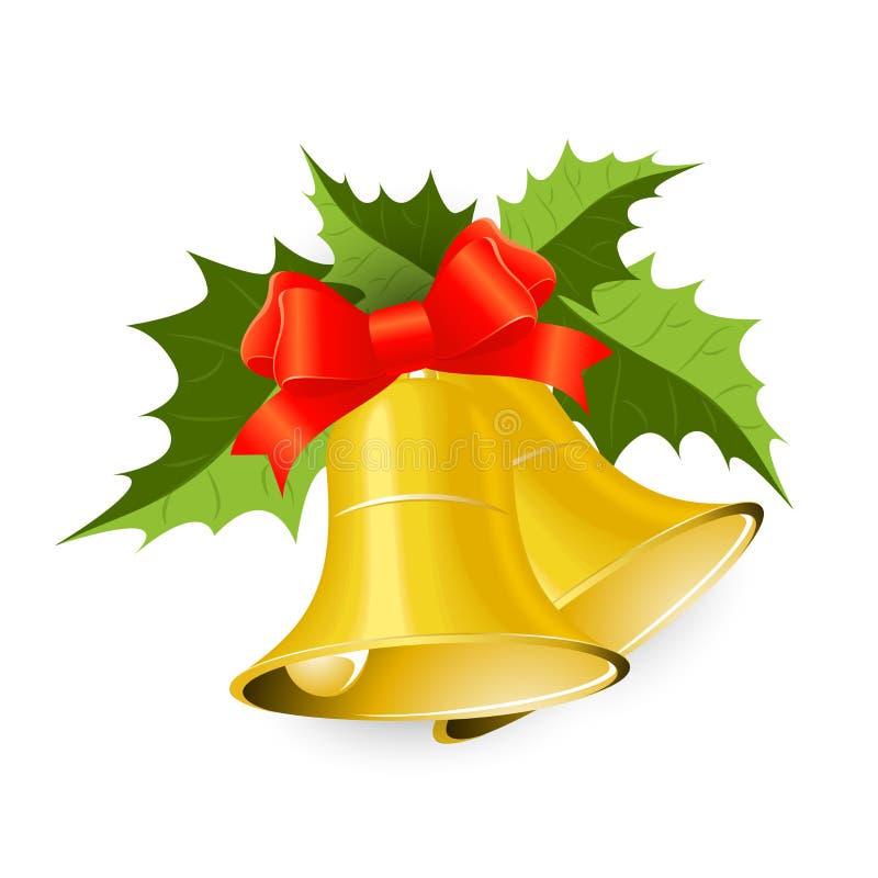 Красивый золотой колокол рождества с зелеными листьями стоковое изображение rf