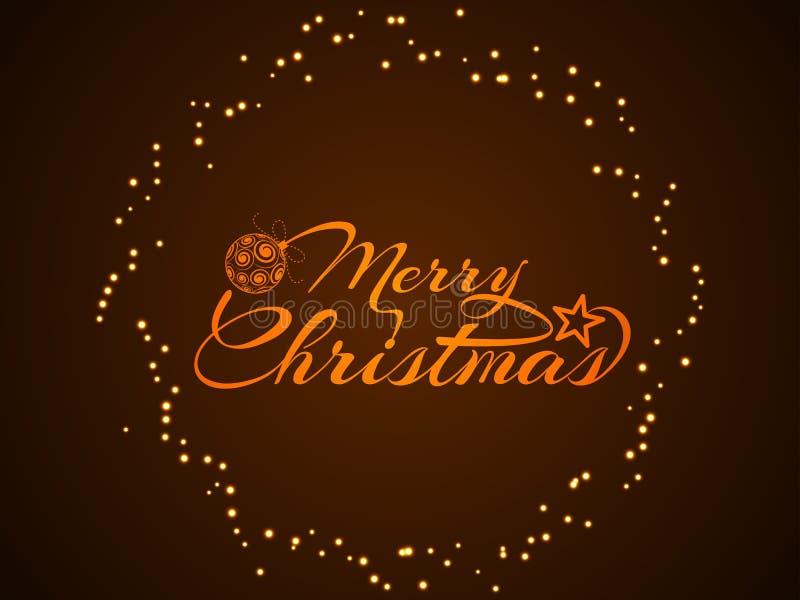 Красивый дизайн текста с Рождеством Христовым иллюстрация штока