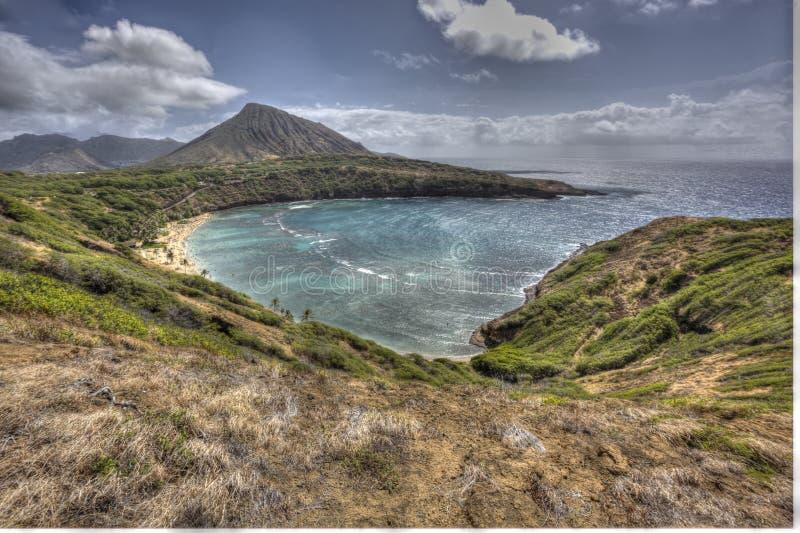 Красивый изумительный сценарный взгляд залива Оаху Гаваи Haunama стоковое фото rf