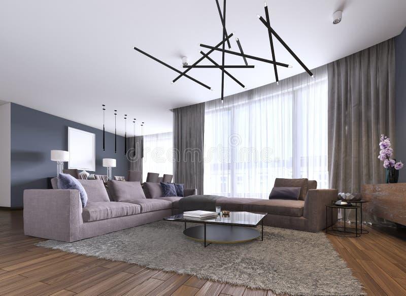 Красивый интерьер живущей комнаты с паркетами и цвет большой софы угла фиолетовый в новом роскошном доме Современный стиль иллюстрация штока
