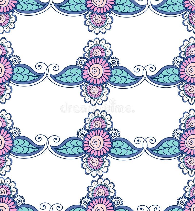 Красивый индийский флористический орнамент можно использовать как поздравительная открытка иллюстрация вектора