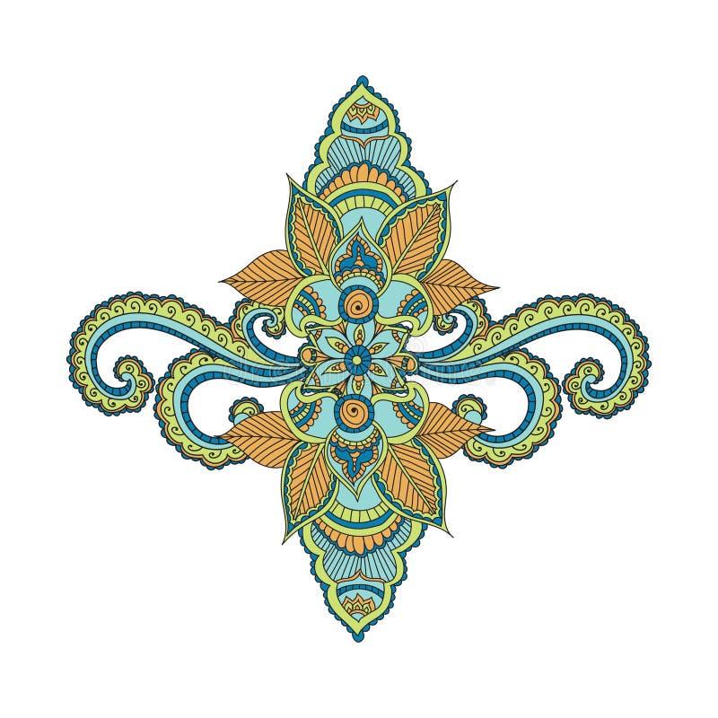 Красивый индийский флористический орнамент можно использовать как поздравительная открытка иллюстрация штока