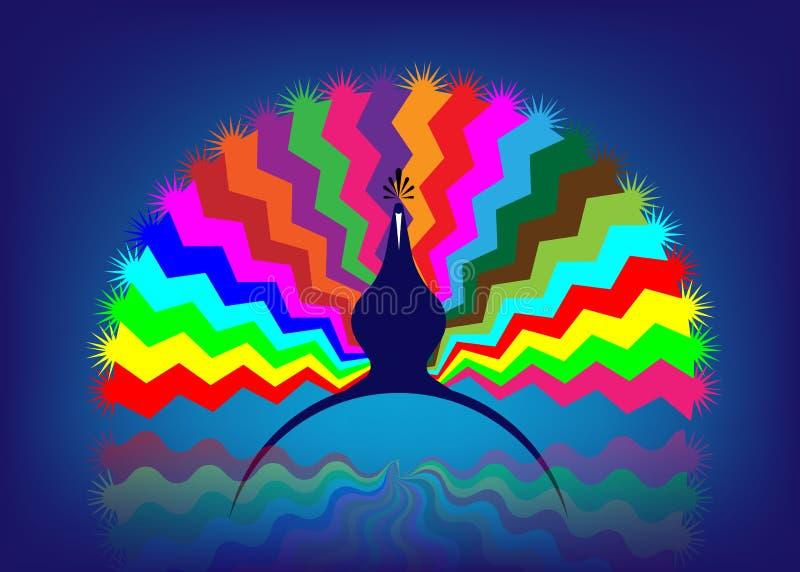 Красивый кабель павлина с пестроткаными изолированными картинами, красочным значком концепции логотипа стилизованным, вектор или  иллюстрация вектора