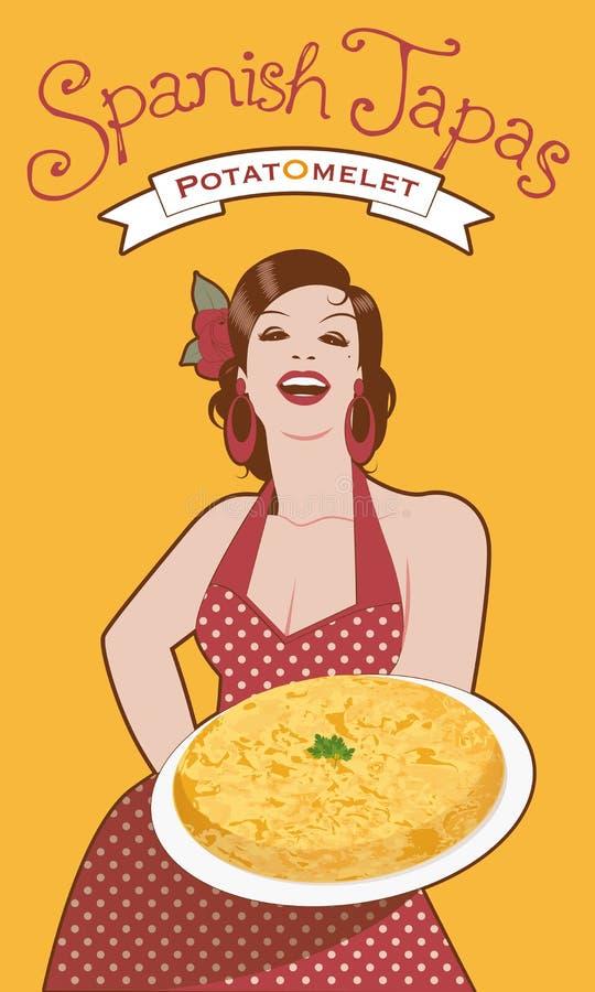 Красивый кашевар испанского языка с омлетом картошки бесплатная иллюстрация