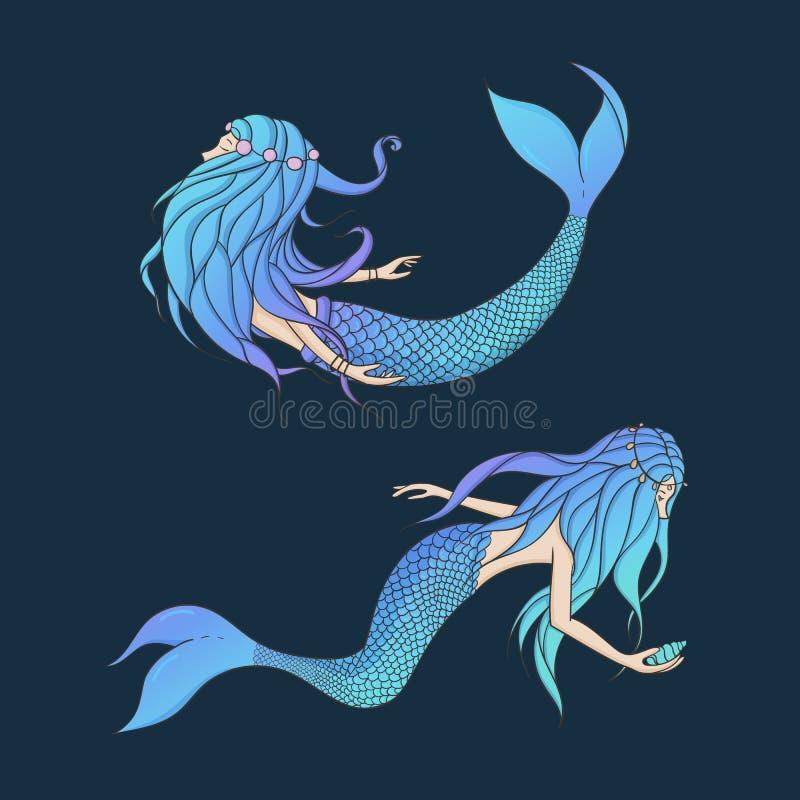 Красивый комплект вектора русалок Подводный iso мифических тварей бесплатная иллюстрация