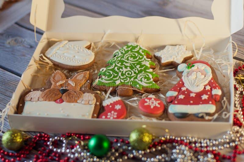 Красивый комплект печений пряника рождества праздника стоковая фотография rf