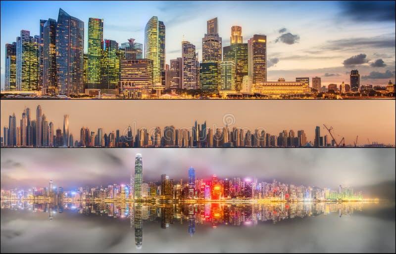 Красивый комплект Дубай, Сингапура, Гонконга стоковая фотография rf