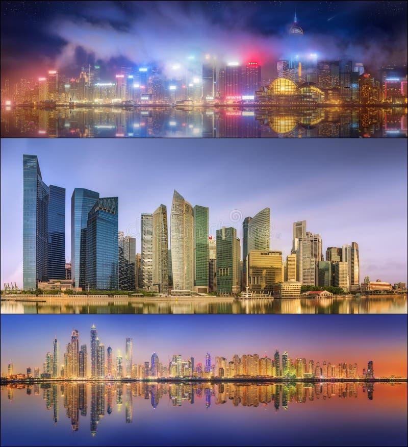 Красивый комплект Дубай, Сингапура, Гонконга стоковые фотографии rf