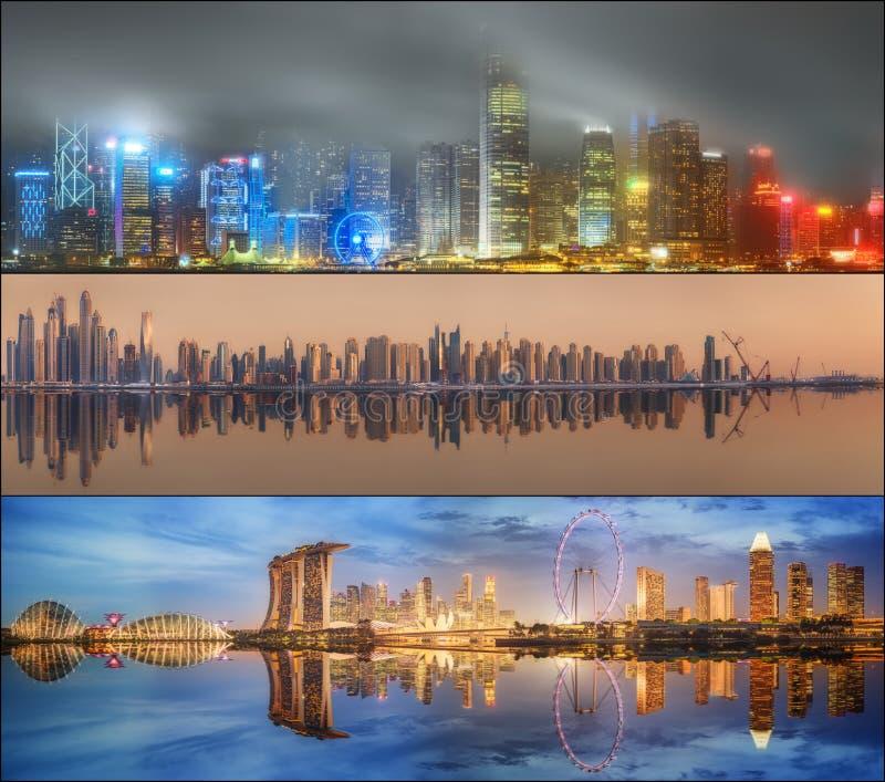 Красивый комплект Дубай, Сингапура, Гонконга стоковые изображения rf