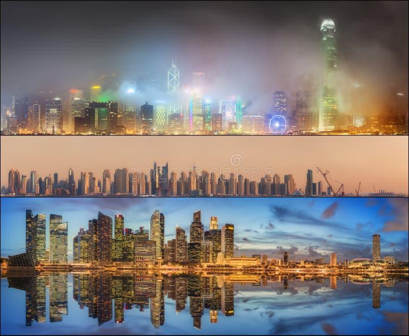 Красивый комплект Дубай, Сингапура, Гонконга стоковое изображение rf