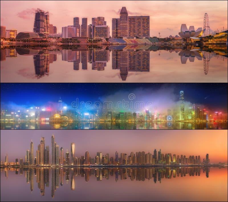 Красивый комплект Дубай, Сингапура, Гонконга стоковое фото