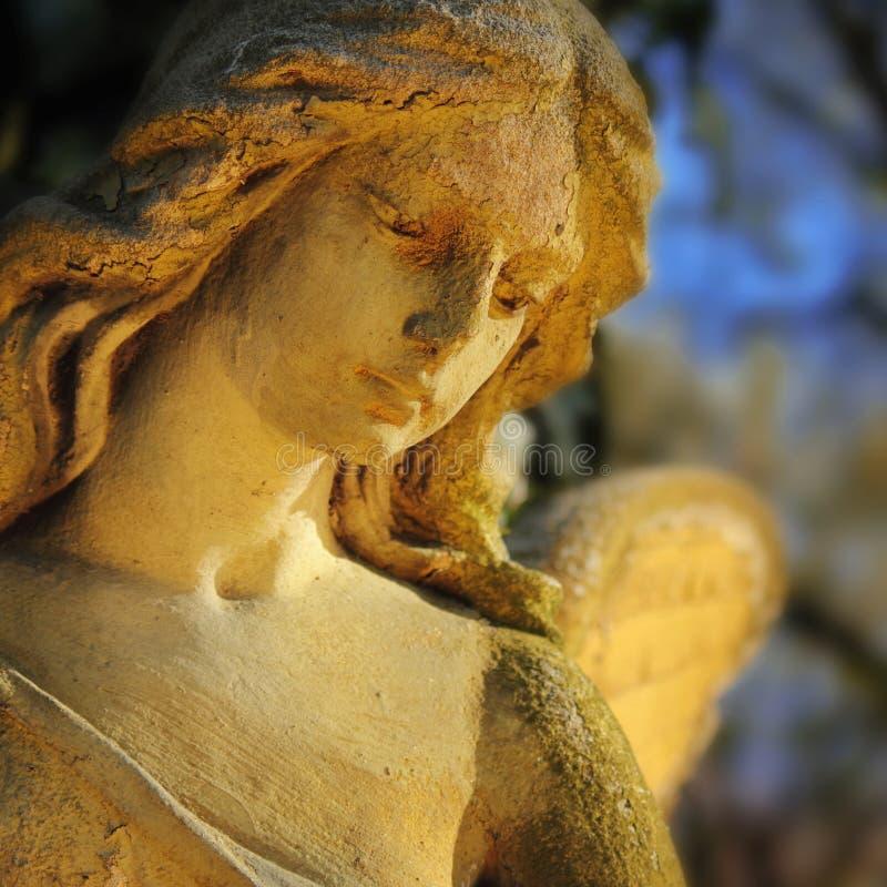 Красивый конец вверх по af скульптура камня ангела стороны с помадкой стоковые изображения rf