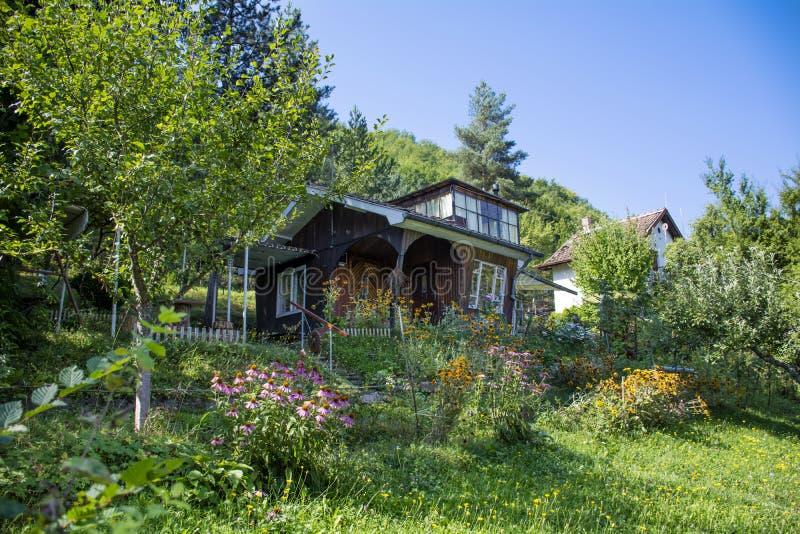 Красивый коричневый деревянный дом с большим зеленым садом стоковые фотографии rf