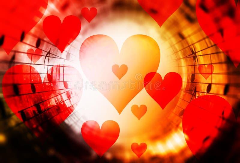 Красивый коллаж с сердцами и примечаниями музыки в космическом космосе, symbolizining влюбленность к музыке иллюстрация штока