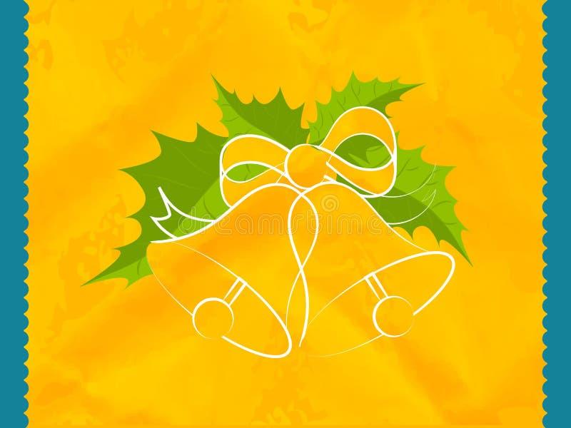 Красивый колокол рождества с зелеными листьями стоковые изображения