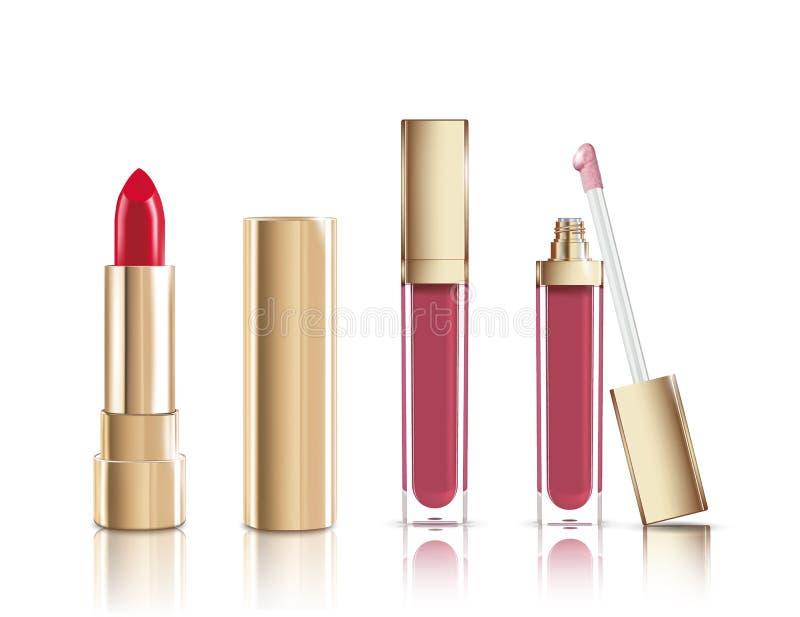 Красивый красный косметический лоск губной помады и губы жидкости в золоте Вектор состава реалистический косметический изолирован иллюстрация штока