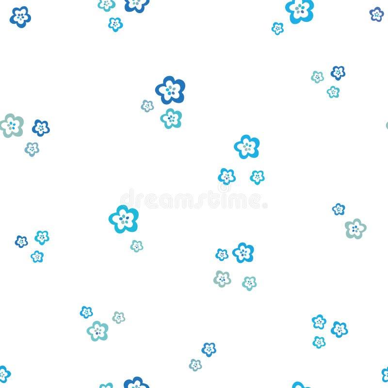 Красивый красочный безшовный цветочный узор, белые цветки на голубой предпосылке, ditsy стиле, фольклорные цветки, большие на вес иллюстрация вектора