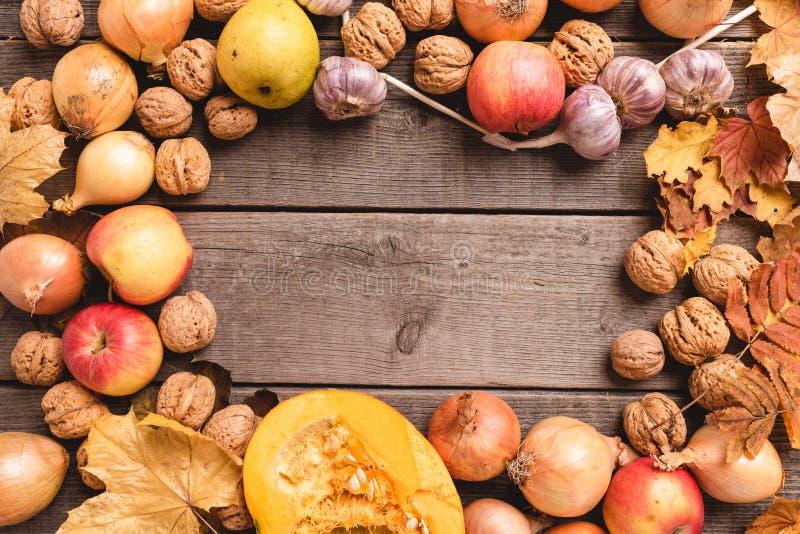 Красивый, красочный состав овощей сбора осени, плоды и листья аранжированные вокруг рамки r стоковые фото