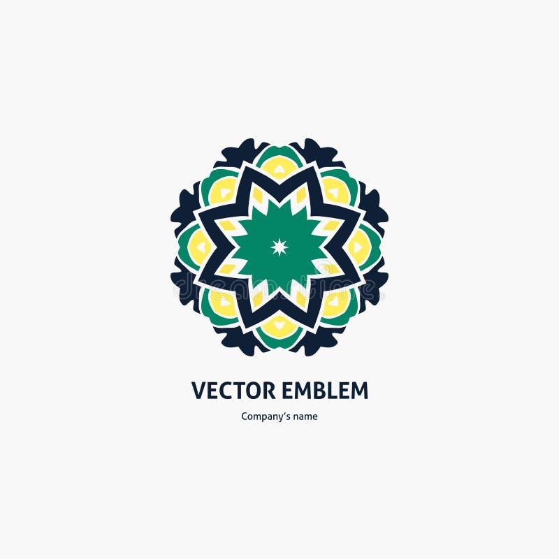 Красивый круговой зеленый ретро логотип для бутика, цветочного магазина, дела Винтаж иллюстрация штока