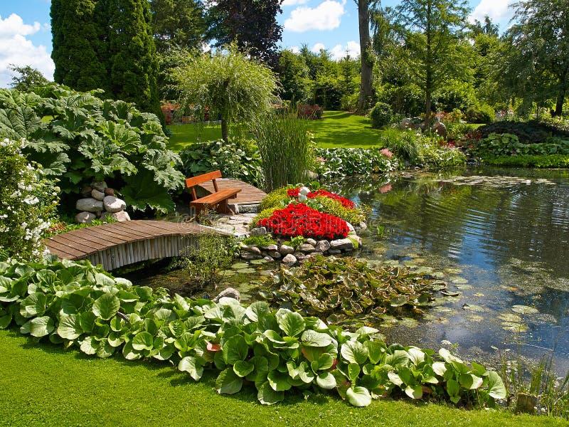 Красивый классический рыбный пруд сада дизайна с лилией воды стоковое фото