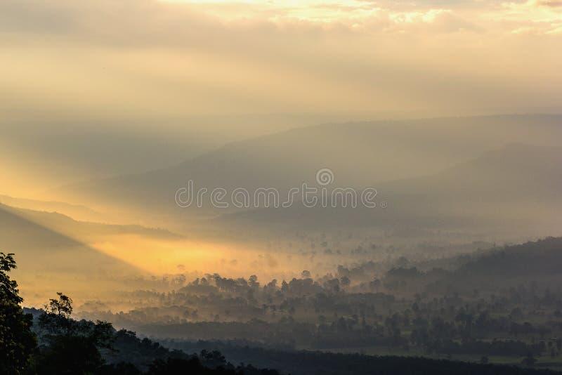Красивый ландшафт горы под туманом в утре стоковые изображения