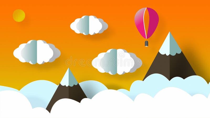 Красивый ландшафт гор со снегом, облаками, солнцем и воздушным шаром летая иллюстрация штока
