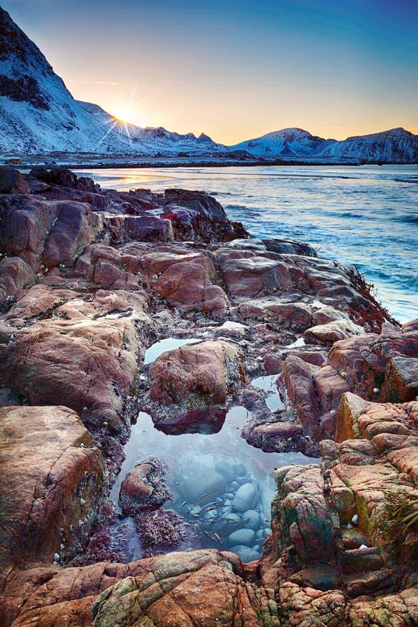 Красивый ландшафт Норвегии захода солнца живописных камней на ледовитом пляже холодного норвежского моря стоковая фотография