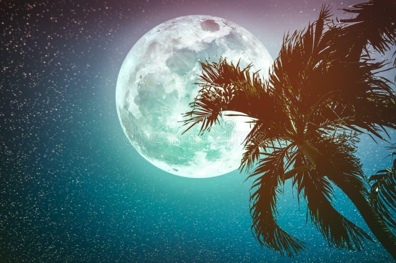 Красивый ландшафт ночи неба с supermoon за приятелем бетэла иллюстрация вектора