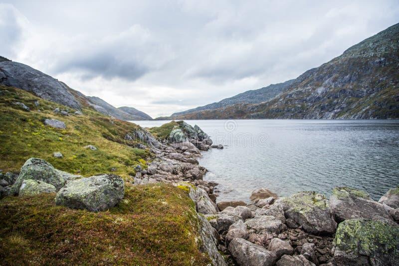 Красивый ландшафт озера горы в национальном парке Folgefonna в Норвегии День осени overcast в горах стоковое фото rf