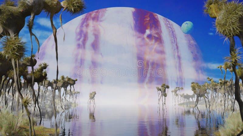 Красивый ландшафт планеты чужеземца, exoplanet со странными заводами и твари летая иллюстрация штока