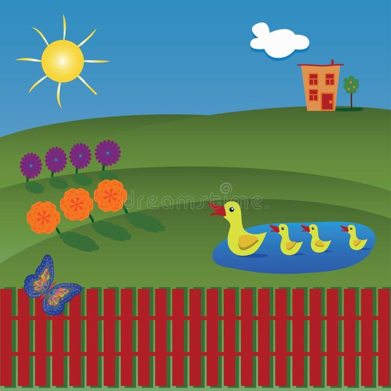 Красивый ландшафт с утками на озере, цветками, бабочкой a иллюстрация вектора