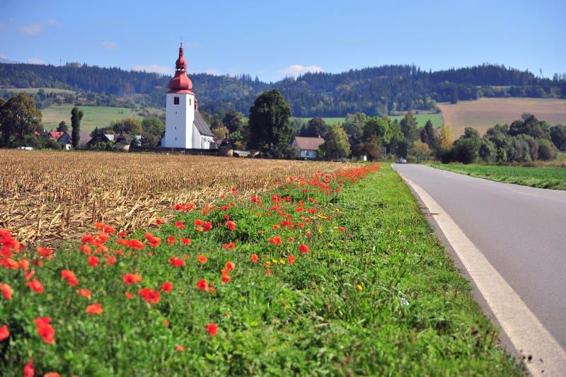 Красивый ландшафт с церковью и цветками стоковые изображения rf