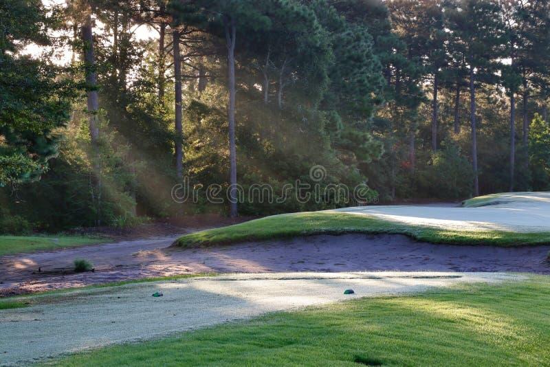 Красивый ландшафт утра лета с южным полем для гольфа стоковые фотографии rf