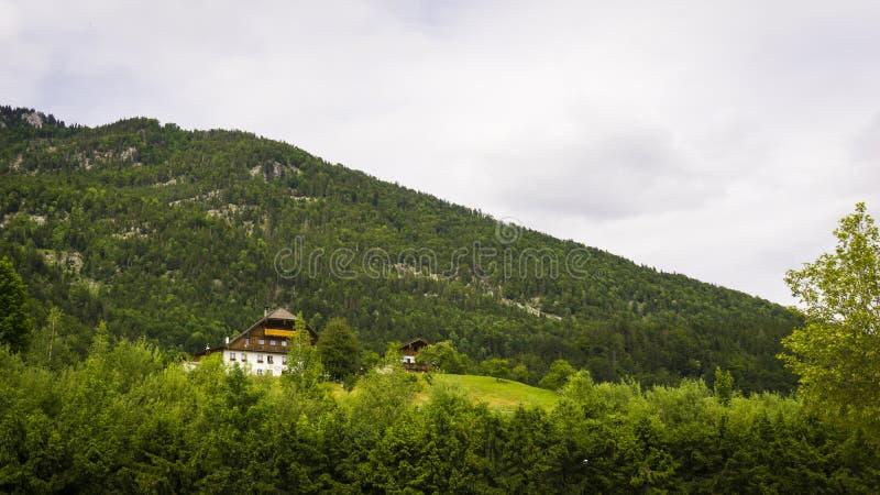 Красивый ландшафт Aps с зелеными горами, долиной, домом и лесом стоковое изображение