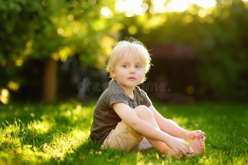 Красивый мальчик сидит на траве на солнечный летний день детство счастливое стоковые фото