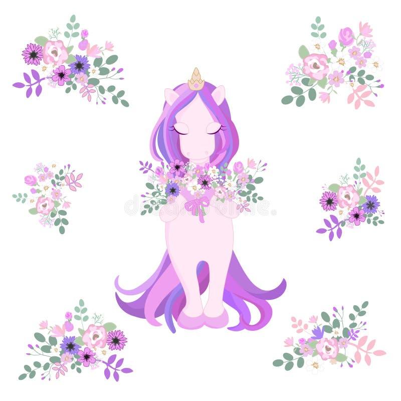 Красивый милый единорог с цветками Деревенский винтажный набор цветка Изолировано на белизне иллюстрация вектора