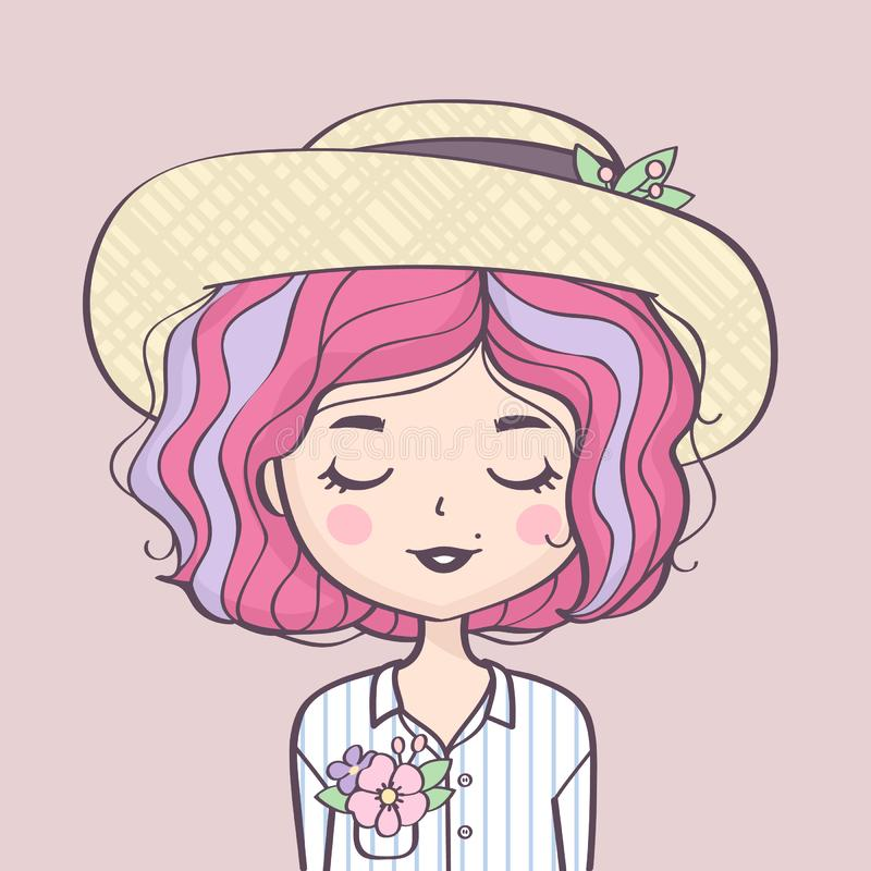 Красивый милый портрет девушки лета в соломенной шляпе бесплатная иллюстрация