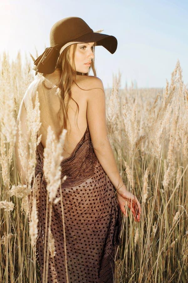 Красивый модельный идти в tallgrass на золотом часе стоковая фотография