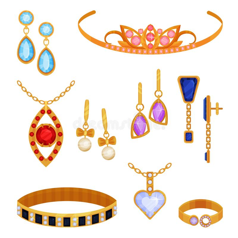Красивый модный комплект ювелирных изделий золота, тиара, ожерелье, браслет, цепь золота, серьги, шкентель, вектор кольца бесплатная иллюстрация