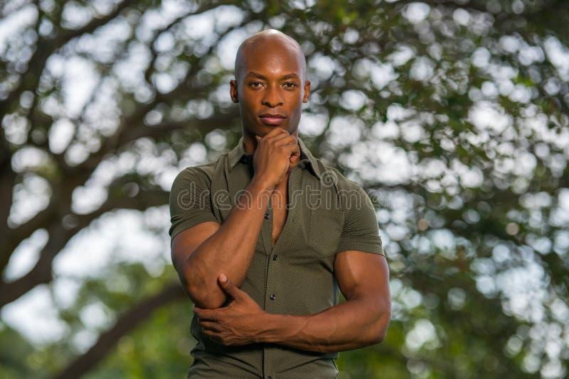 Красивый молодой Афро-американский человек представляя руку на подбородке в сцене природы стоковая фотография rf