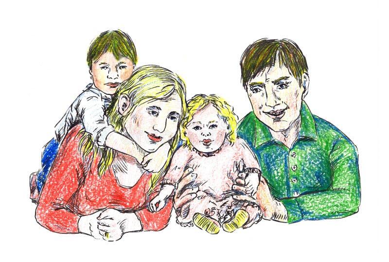 Красивый молодой сидеть семьи счастливый совместно иллюстрация штока